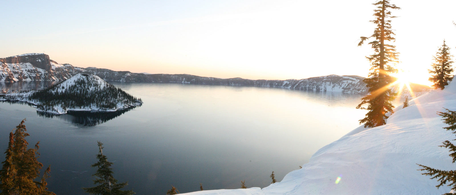 crater lake with sunrise