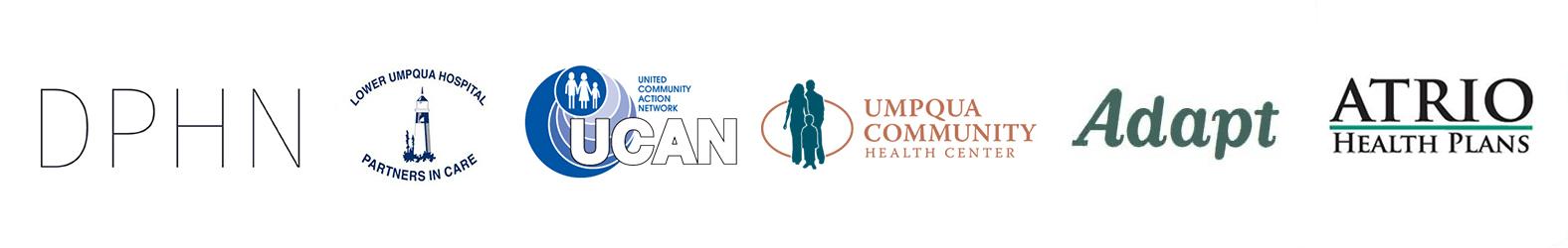 Douglas Public Health Network logo, lower umpqua hospital logo, united community action network logo, umpqua community health center logo, adapt logo, atrio health plans logo