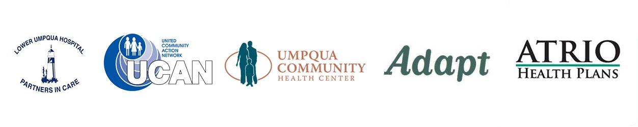 lower umpqua hospital logo, united community action network logo, umpqua community health center logo, adapt logo, atrio health plans logo