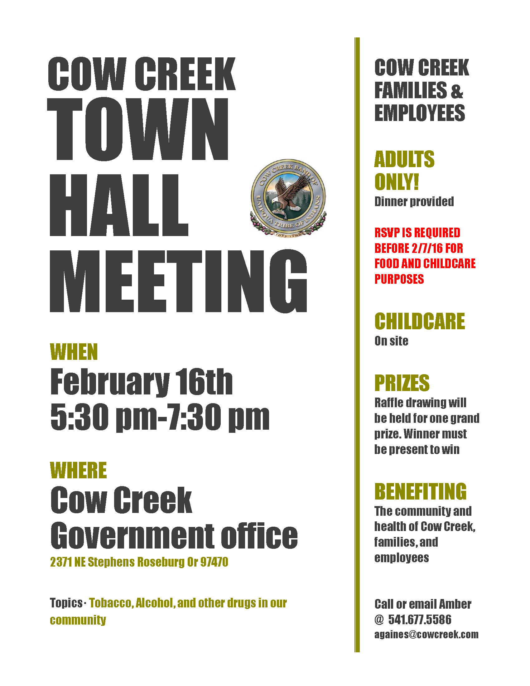 Cow Creek Town Hall Meeting – Families & Employees