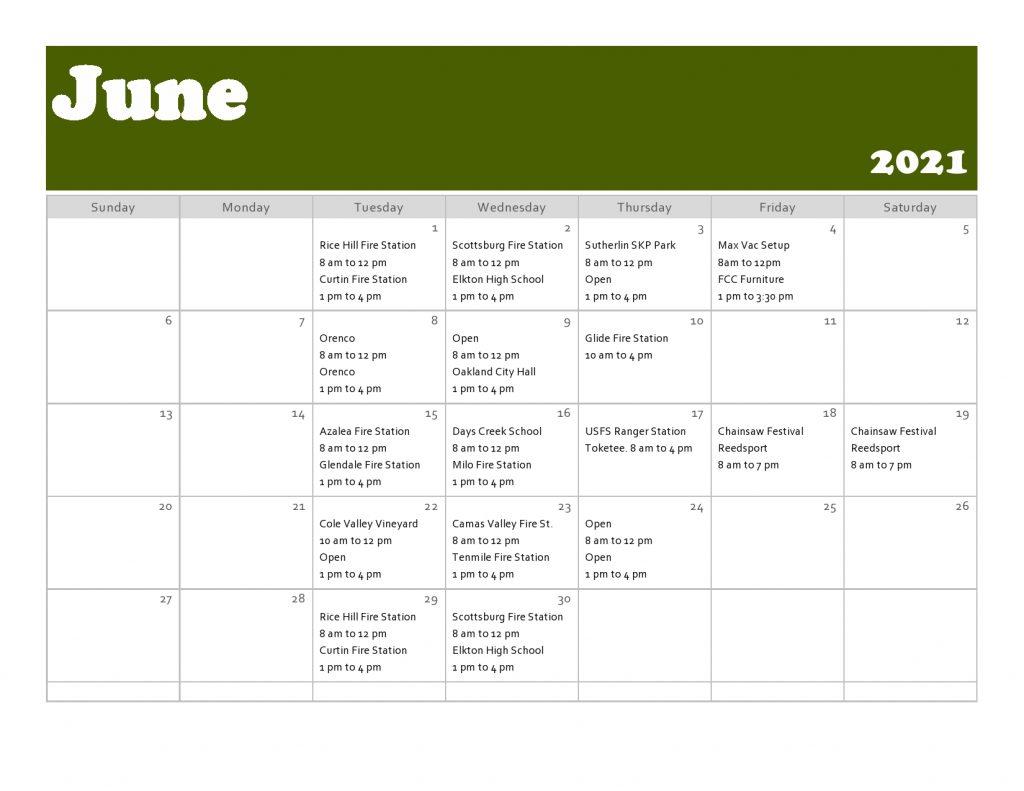 Tiger Team Events Schedule June 2021